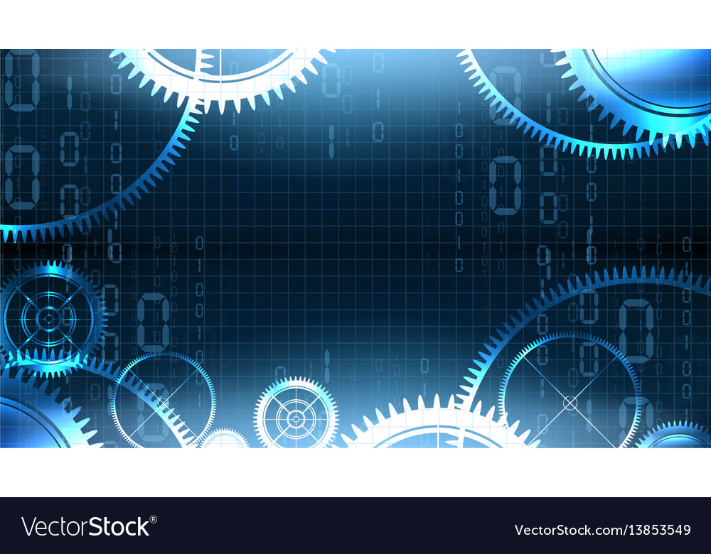 Modern technological gear illuminated background