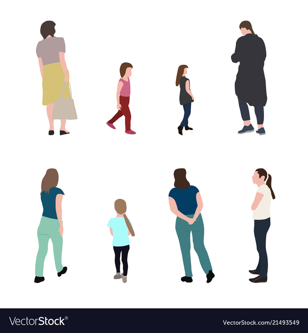 Set of silhouette walking people and children