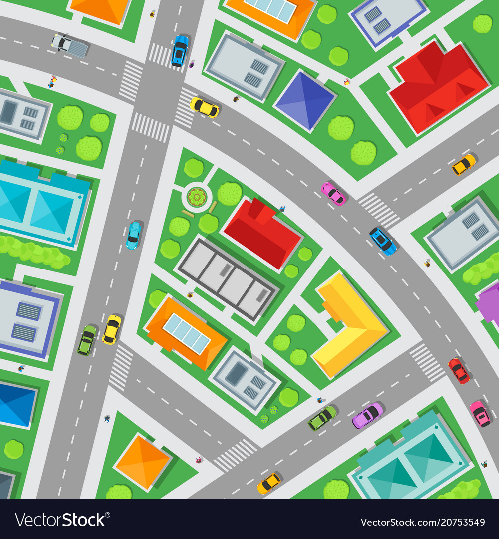 Top view city streets map background card