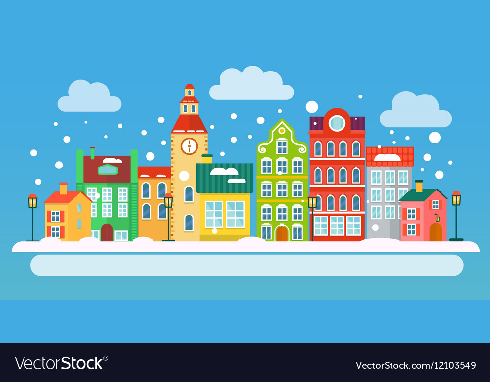 Winter urban landscape in flat style