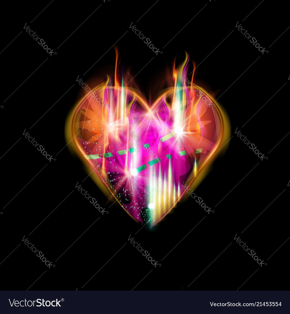Abstraction heart for dark backgrounds smoldering