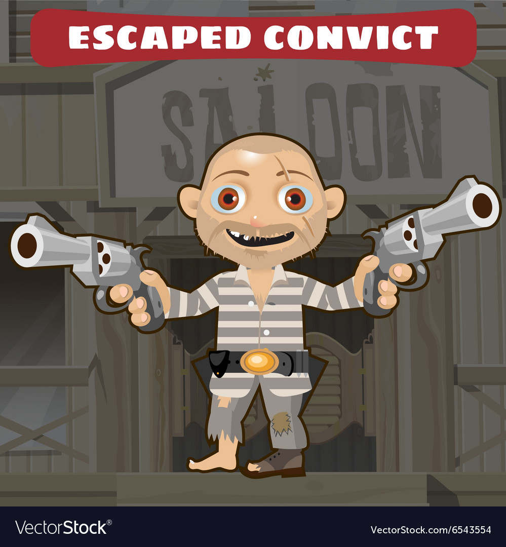Cartoon character of Wild West - escaped convict vector image