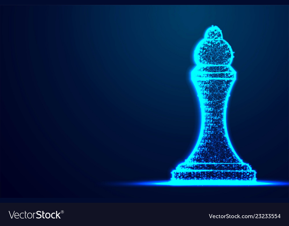 Chess queen wireframe polygon blue frame