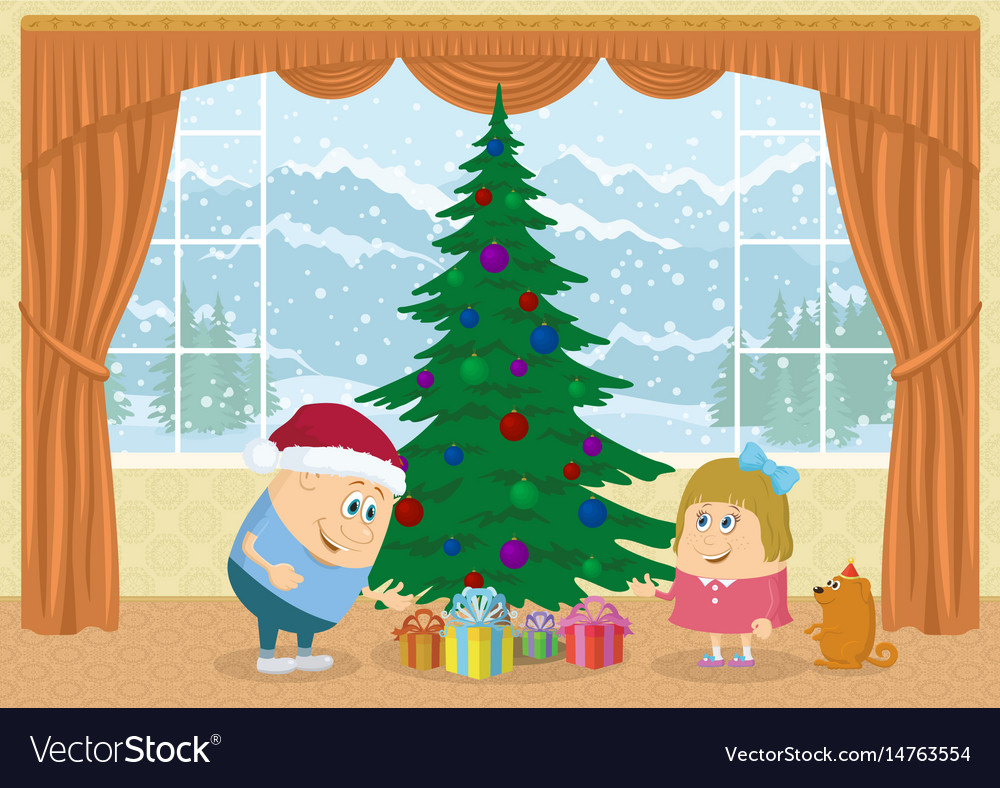 Children finding gifts under fir tree vector image