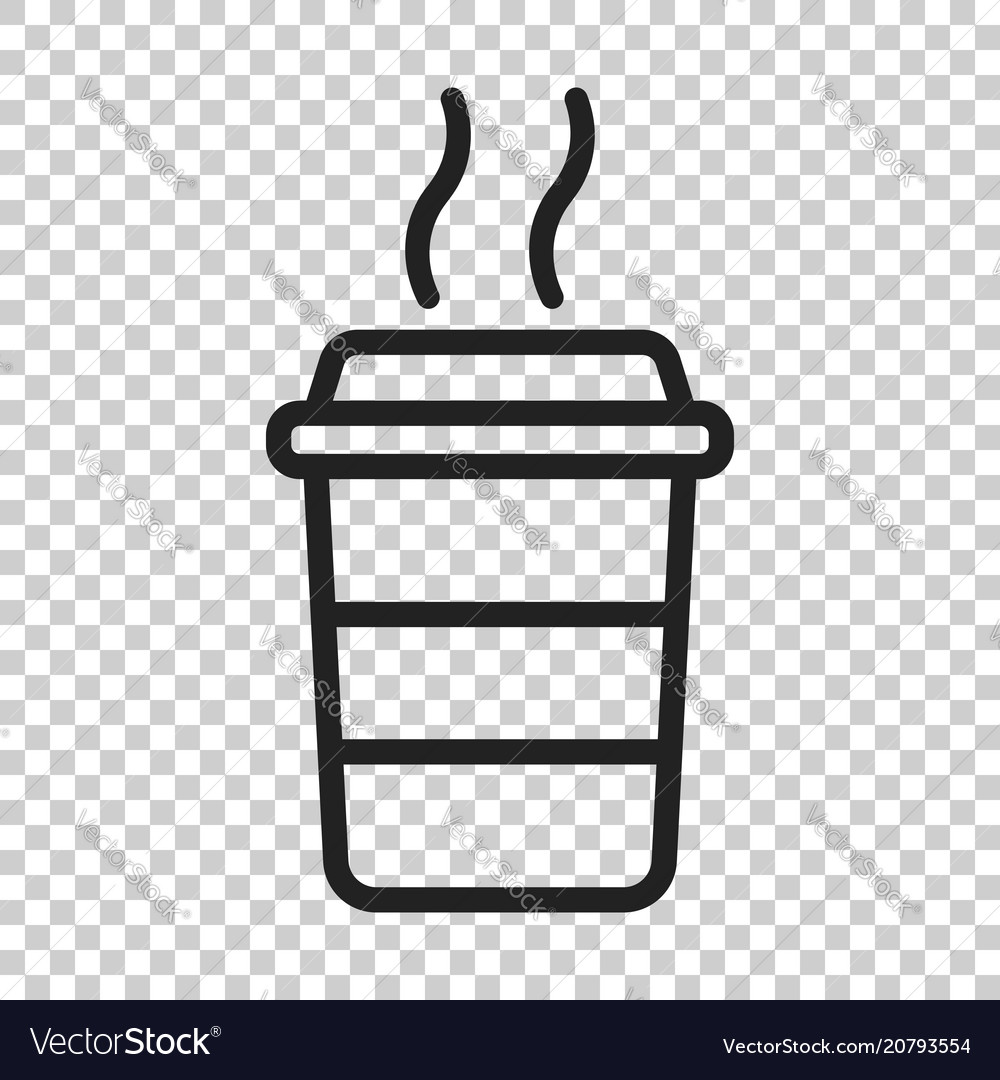 coffee cup icon on isolated transparent royalty free vector