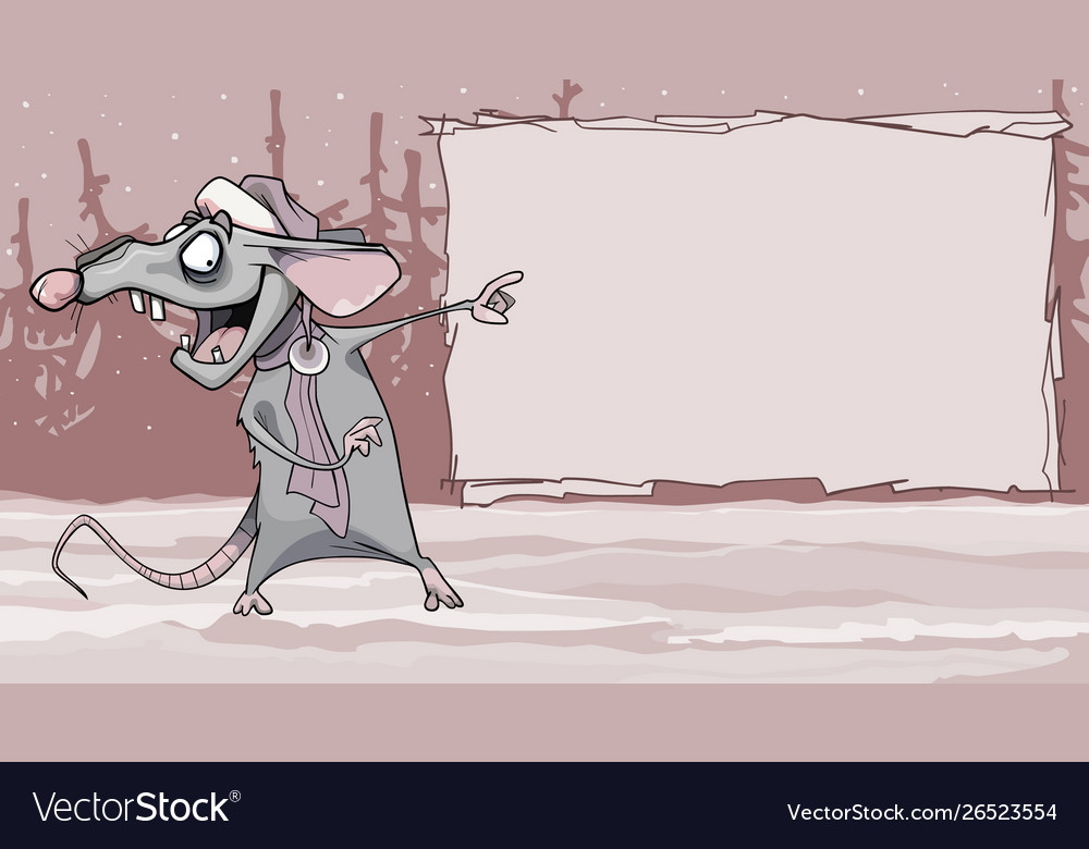 Funny cartoon rat in winter forest points fingers
