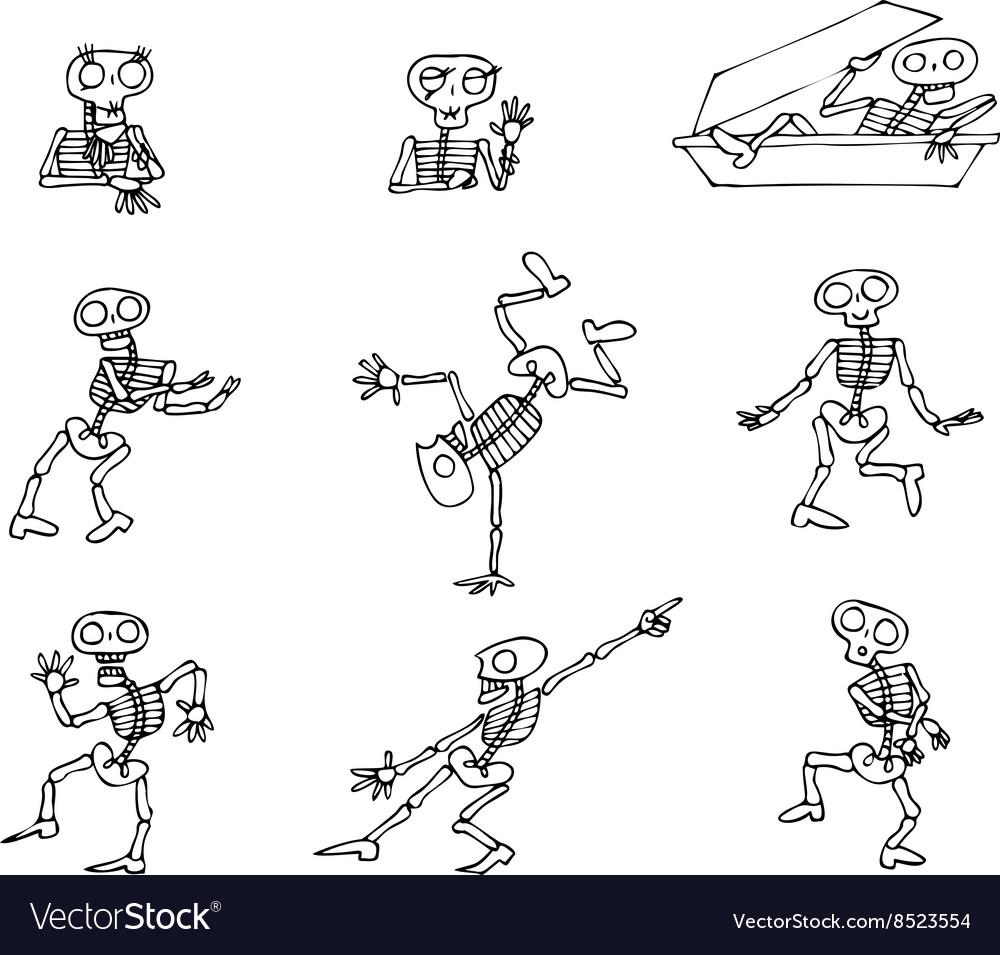 Halloween Skeletons pack vector image