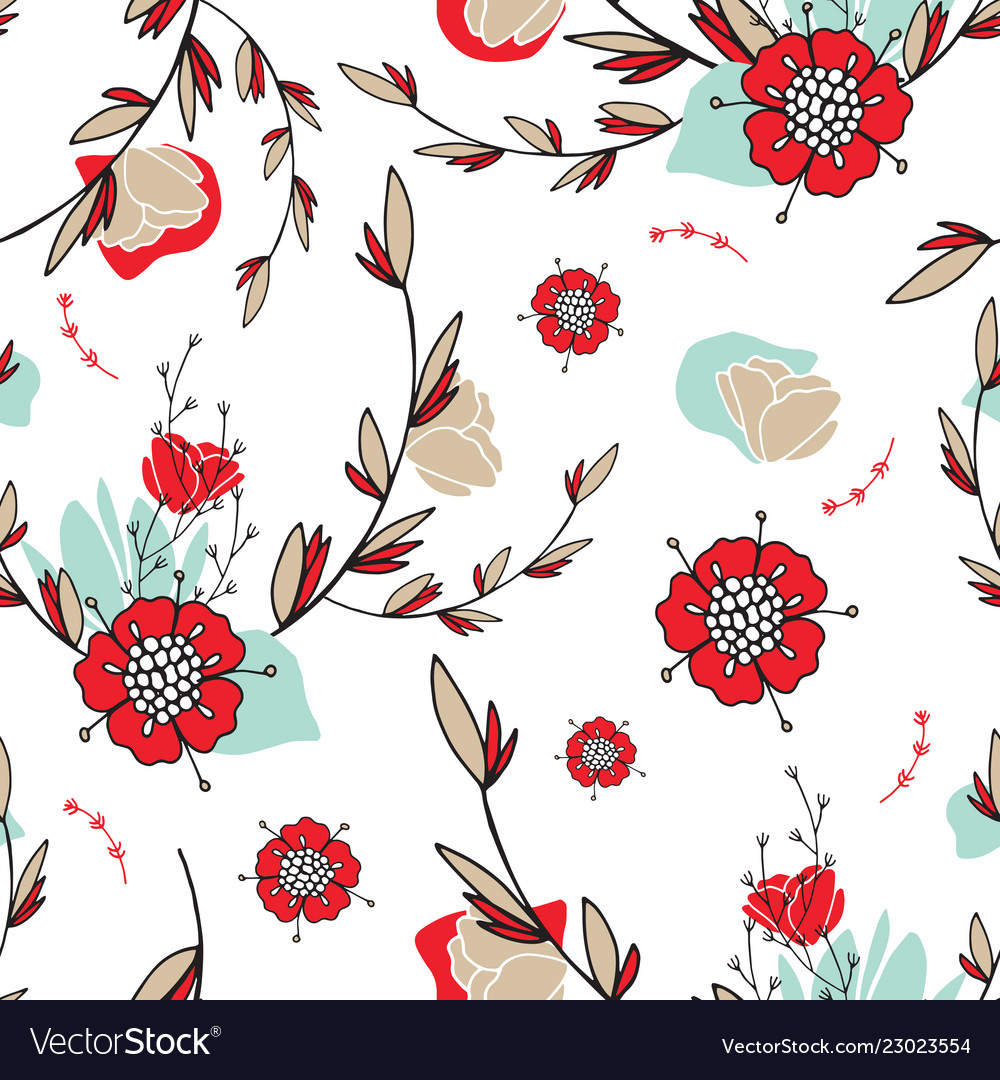 Hand drawn floral seamless background pattern