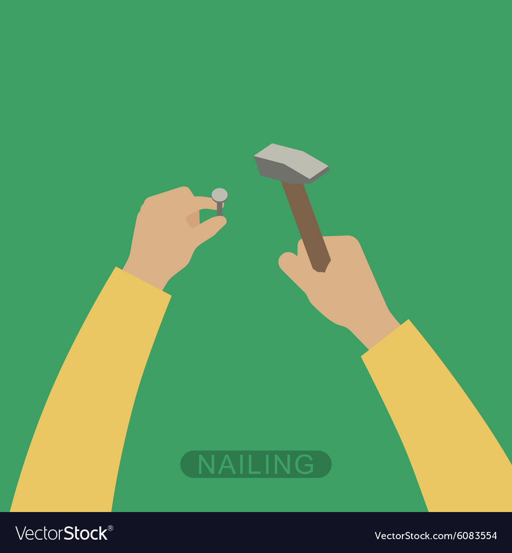 Hands with hammer