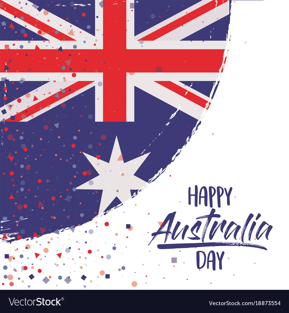 Happy australia day poster with australian flag