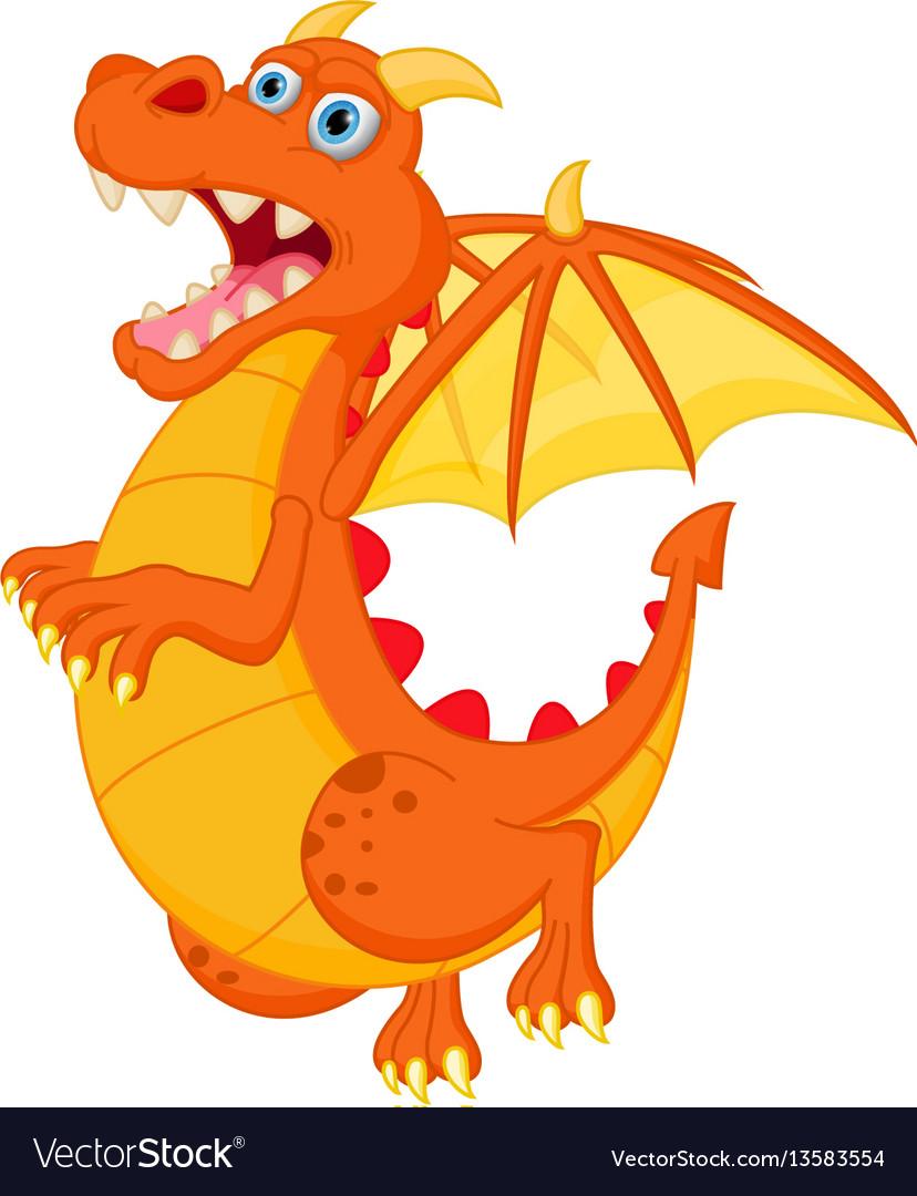 Happy red dragon cartoon