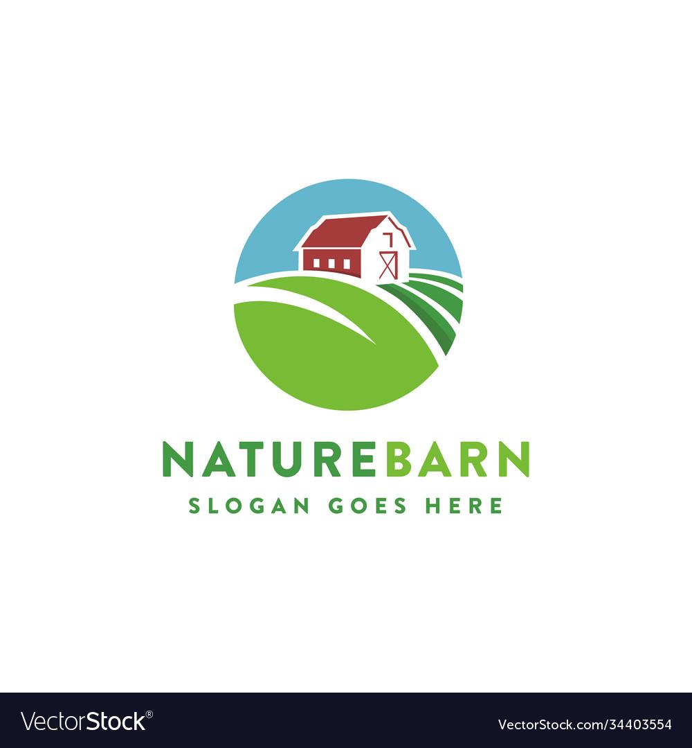 Leaf nature farm barn logo template