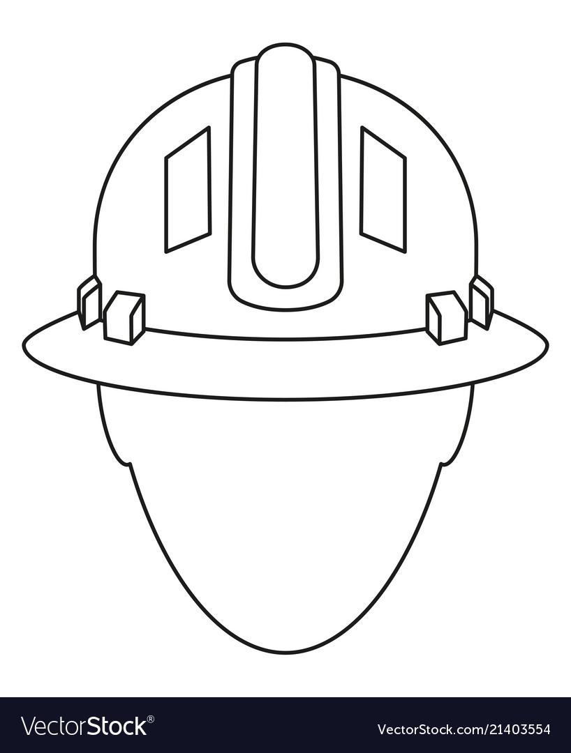 Line art black white construction worker avatar