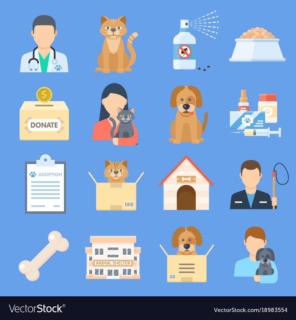 Pets shelter icon set