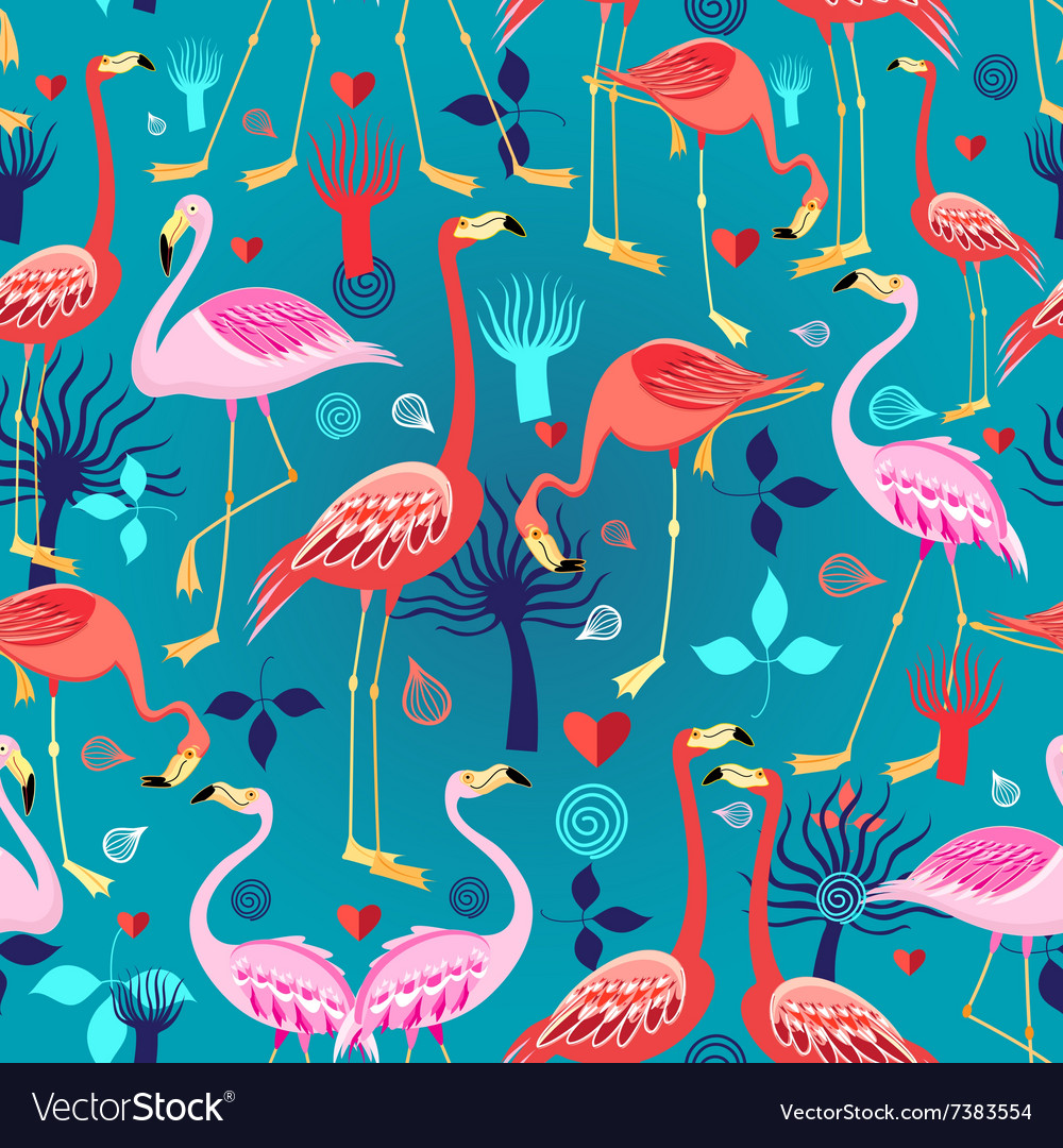 Seamless graphic pattern of flamingos in love