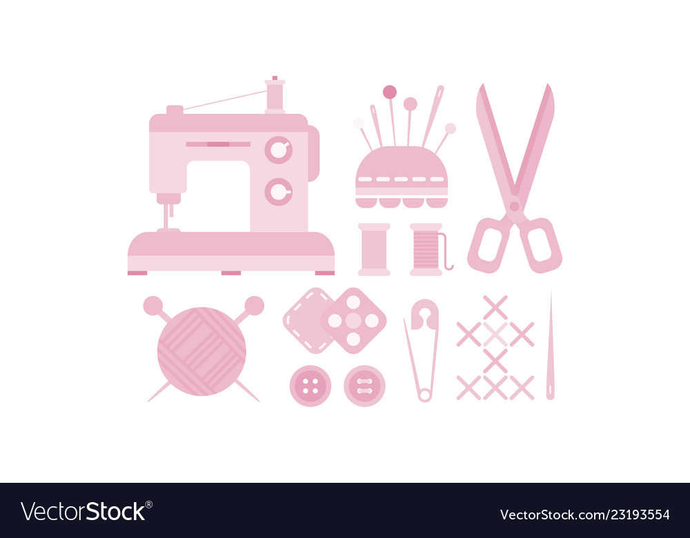 Sewing and needlework icons set tailoring