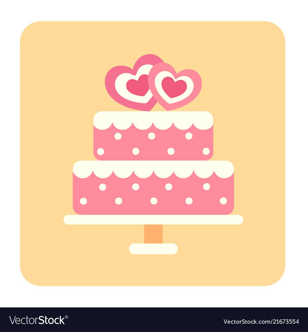 Wedding cake flat icon Royalty Free Vector Image