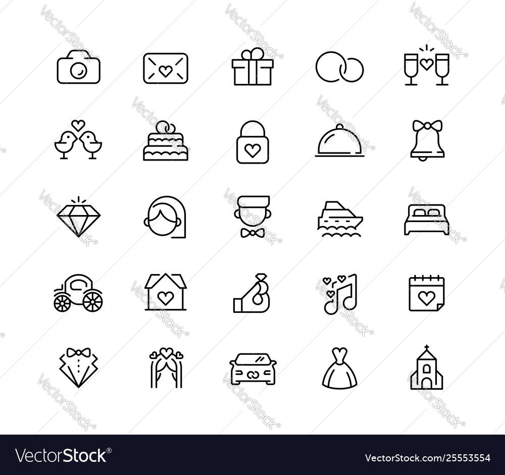 Wedding icon set in line style 64x64 pixel perfect