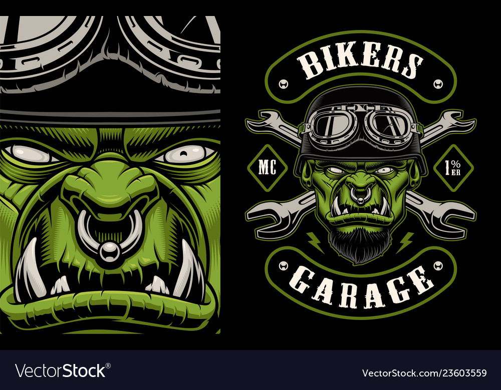 A character biker with crossed wrenches