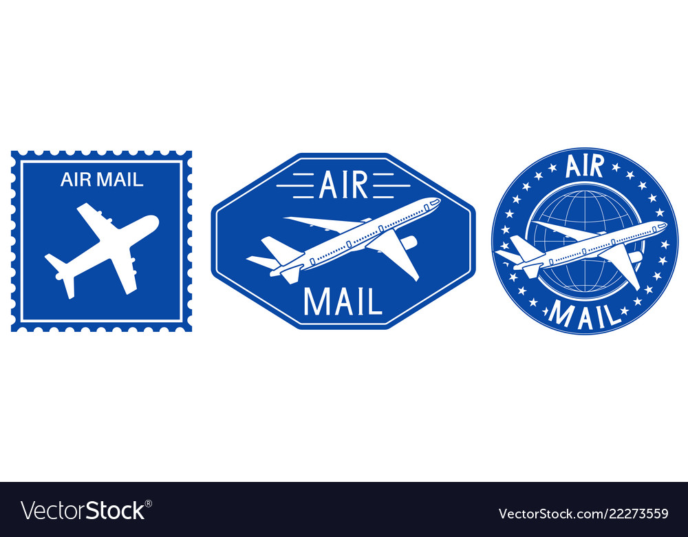 Blue postal stamps air mail sign with plane