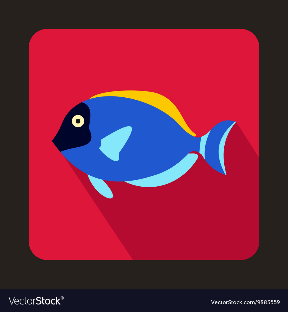Blue surgeon fish icon flat style Royalty Free Vector Image