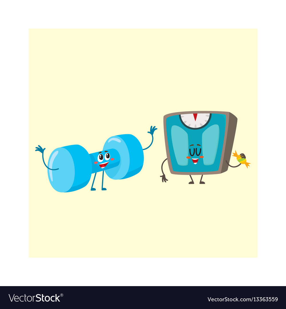 Funny dumbbell and scale characters with human vector image