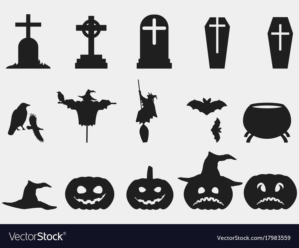 Halloween Set Of Symbols Witch Hat Pumpkin Vector Image