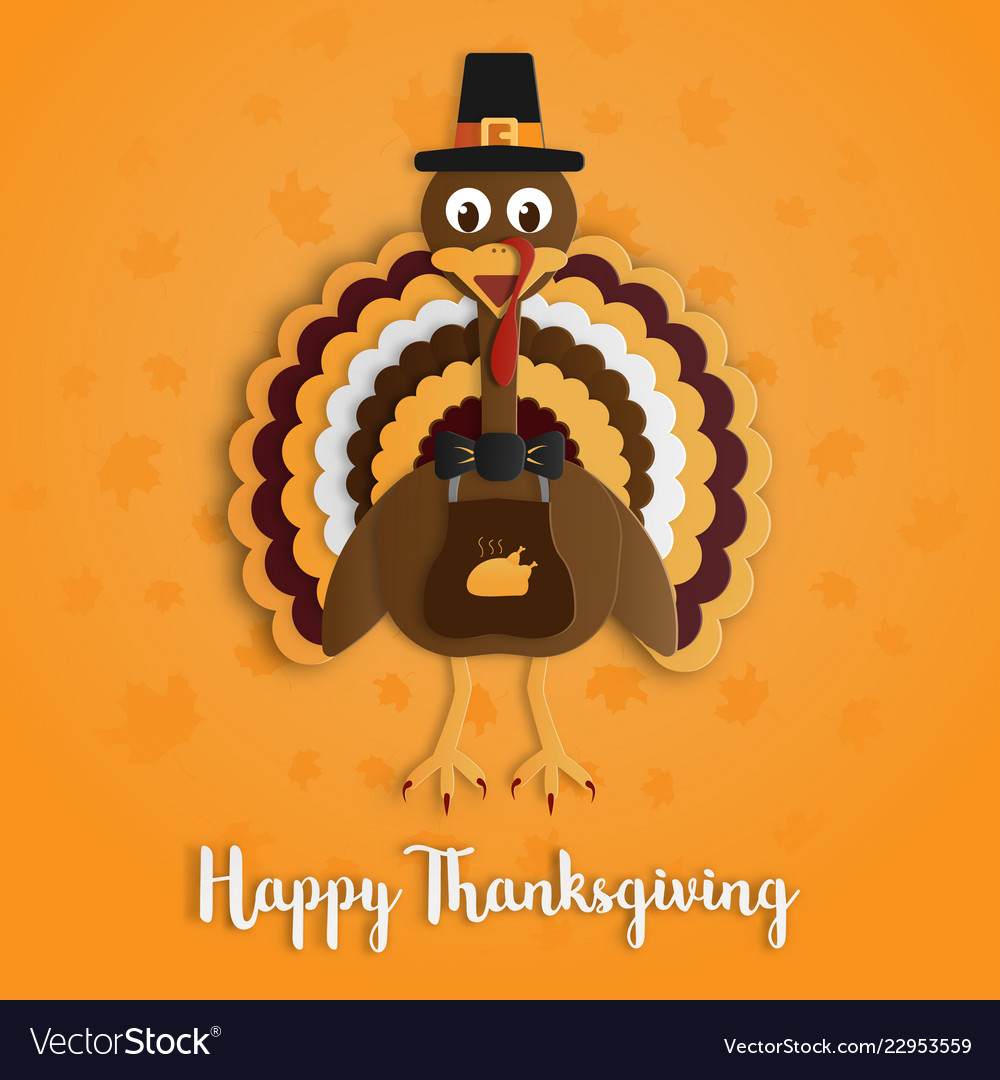 Happy thanksgiving day with turkey paper art on