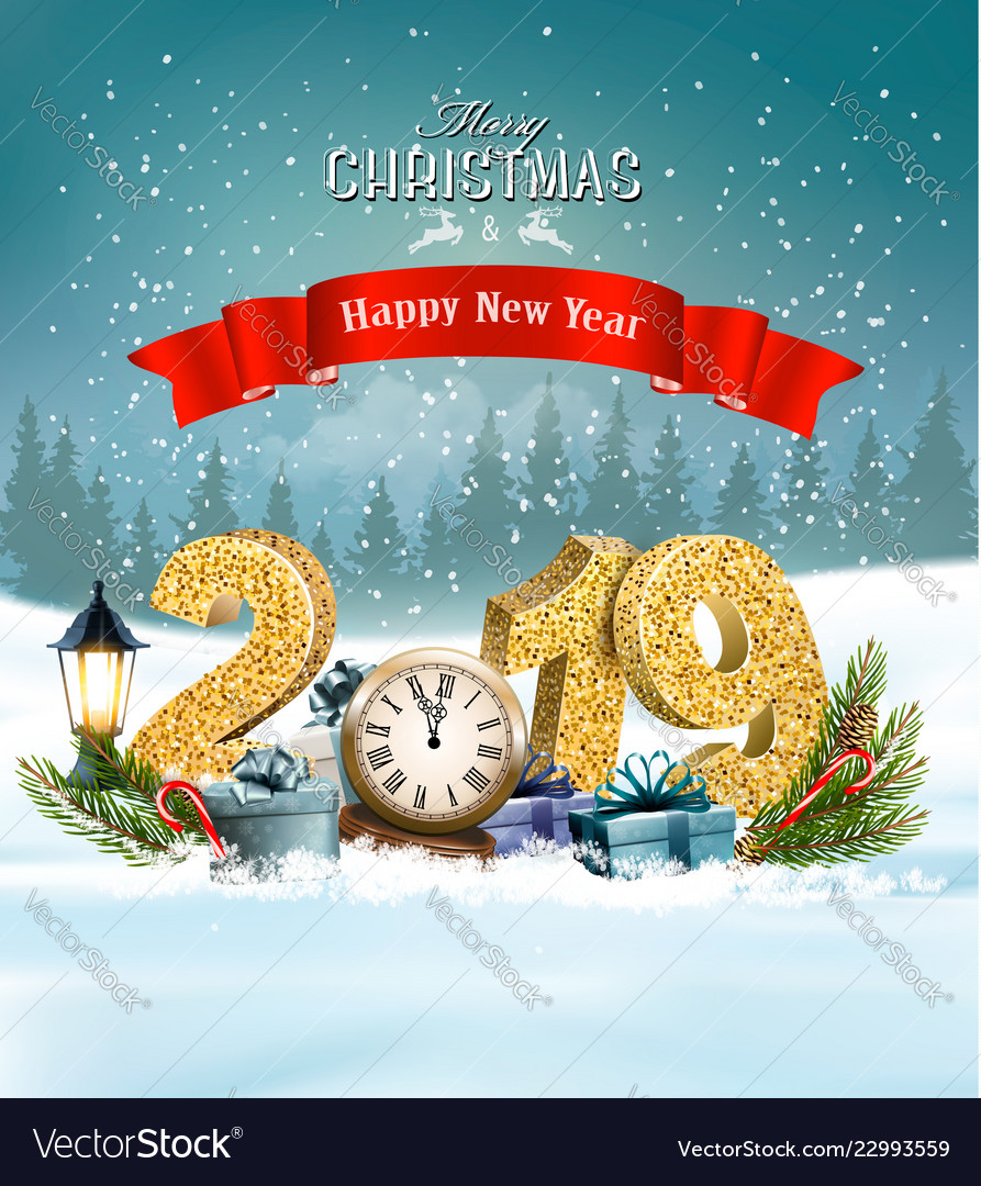 2019 Christmas Background Holiday christmas background with 2019 and Vector Image