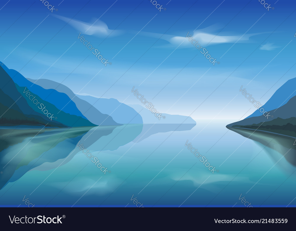 Landscape of a mountain lake in the morning