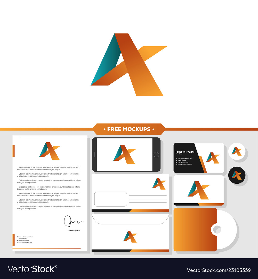 Letter a logo branding with stationery mockup