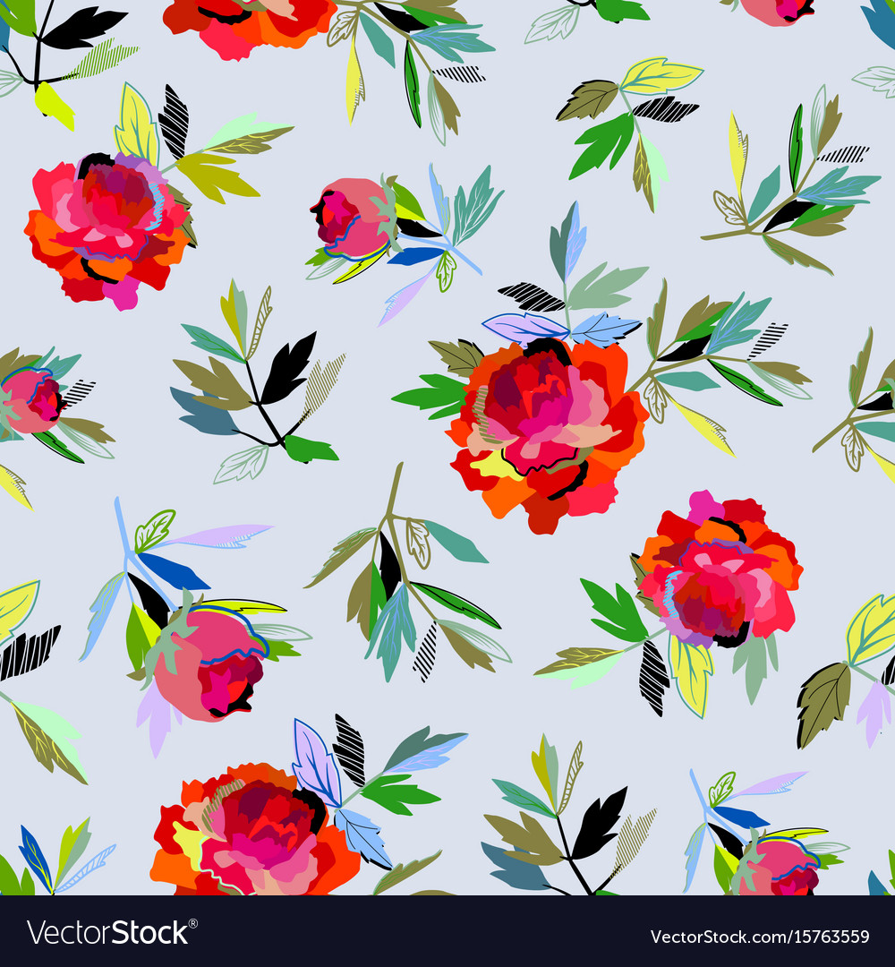 seamless abstract floral pattern red for girl vector image