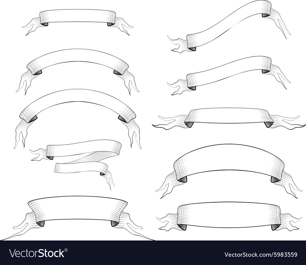 Set of 10 old engraved ribbons for text vector image