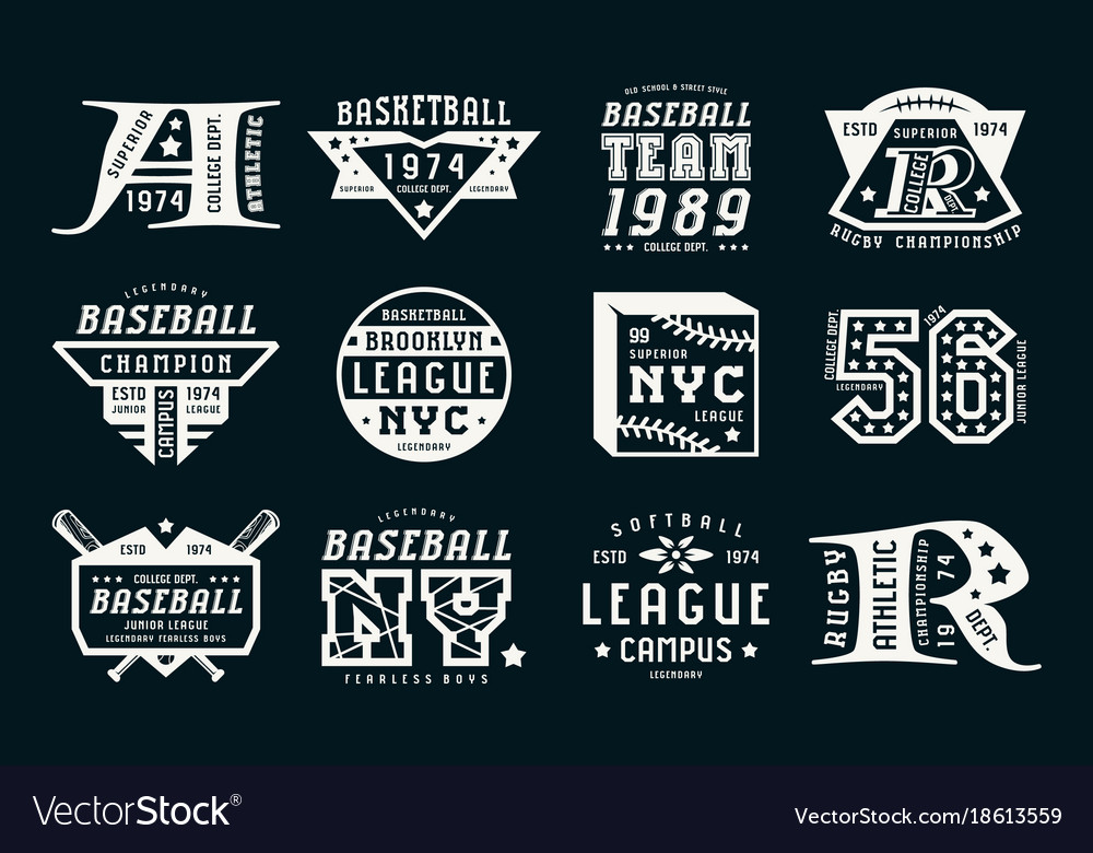 Set of emblems in sport style