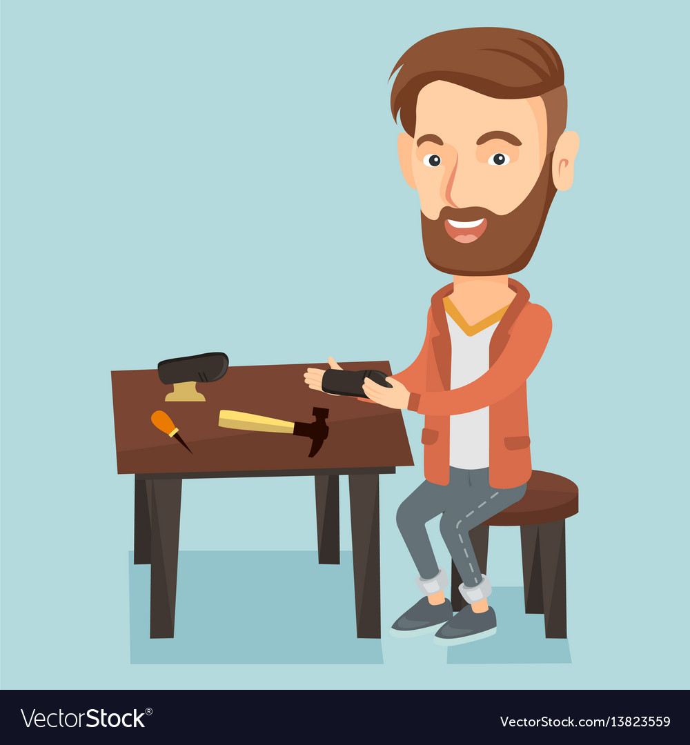 Shoemaker making handmade shoes in workshop vector image