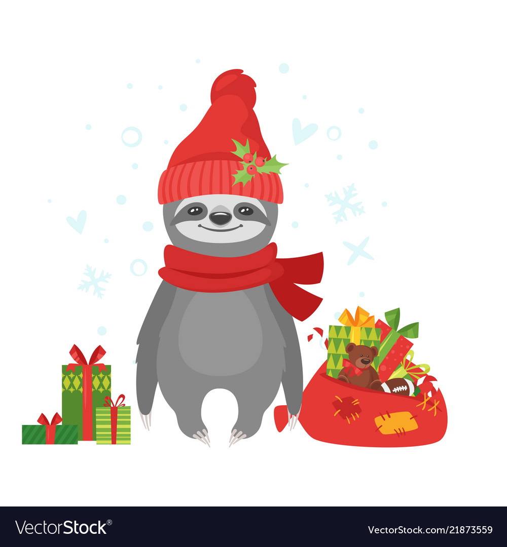 Sloth holding santa claus bag