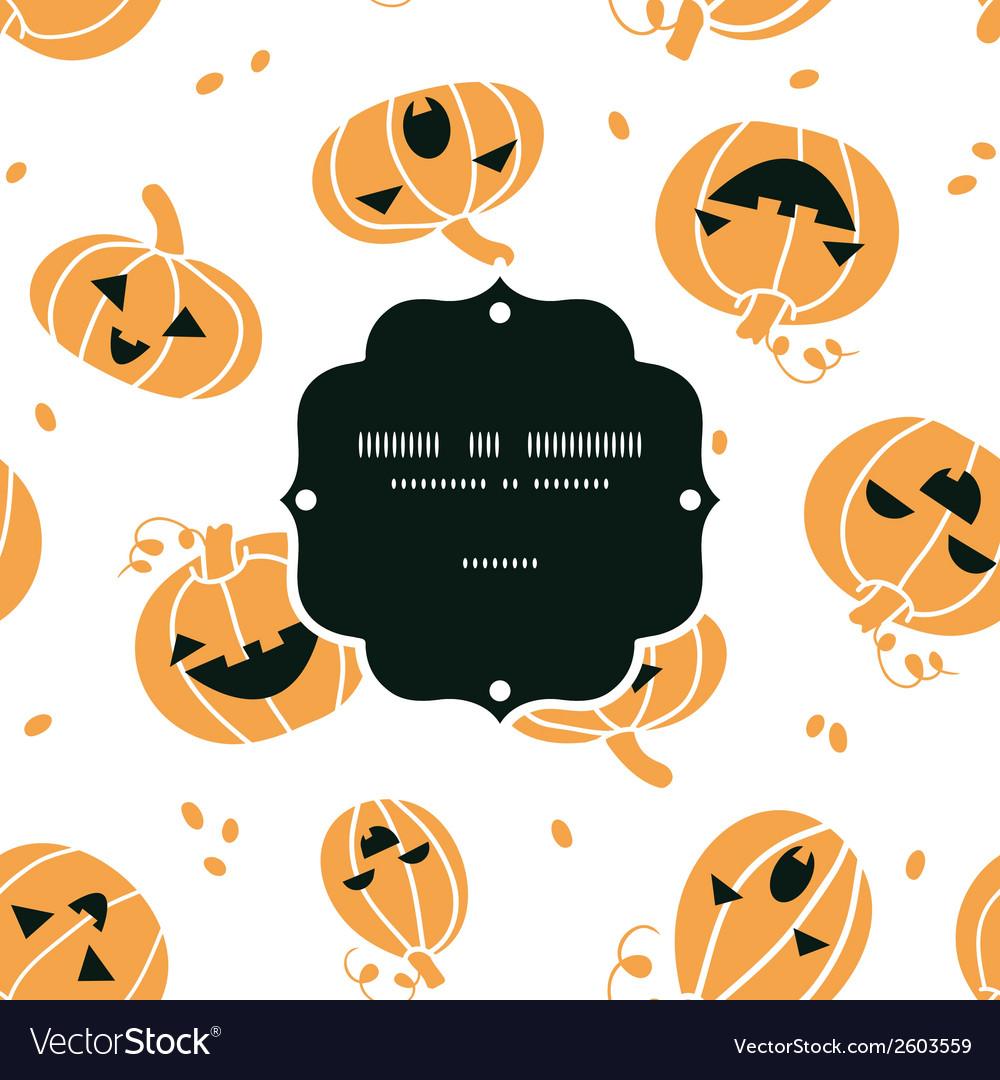 Smiling Halloween pumpkins frame seamless pattern