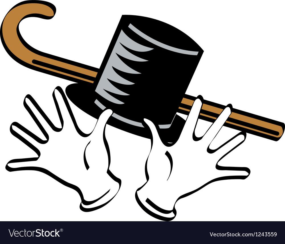 Top hat gloves cane vector image
