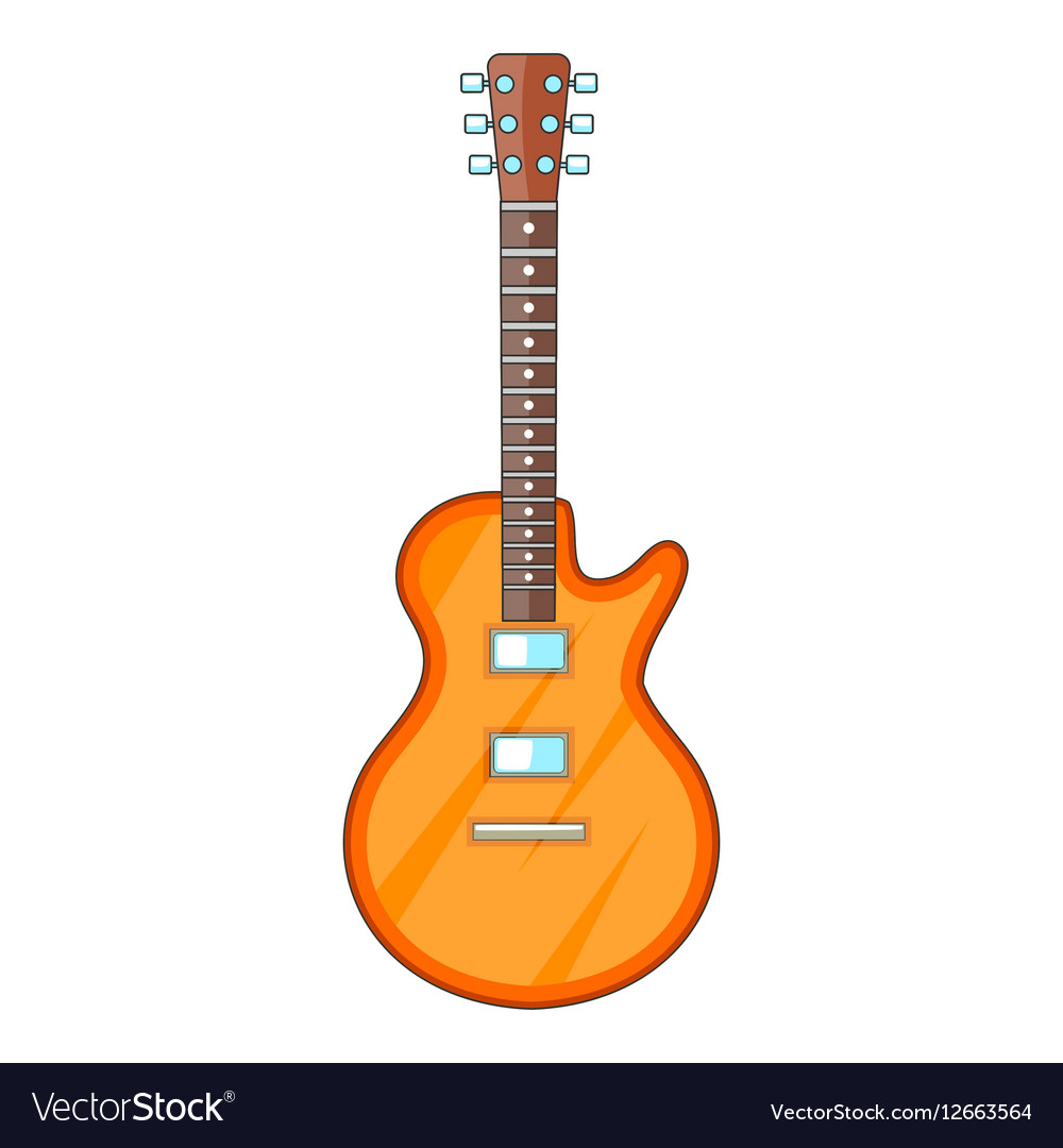 Acoustic guitar icon cartoon style