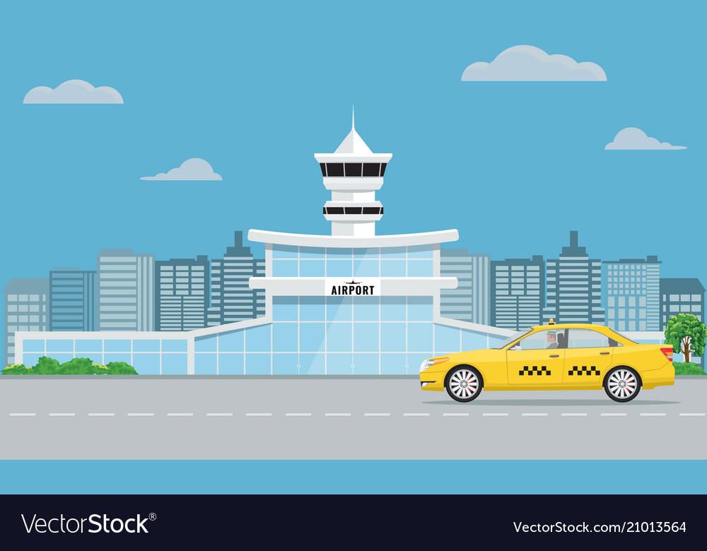 Airport terminal building and yellow taxi urban