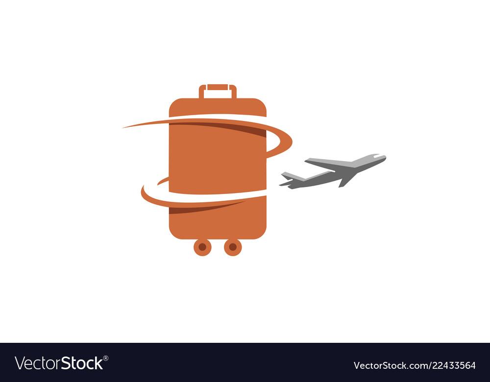 Bag airplane creative travel symbol design logo