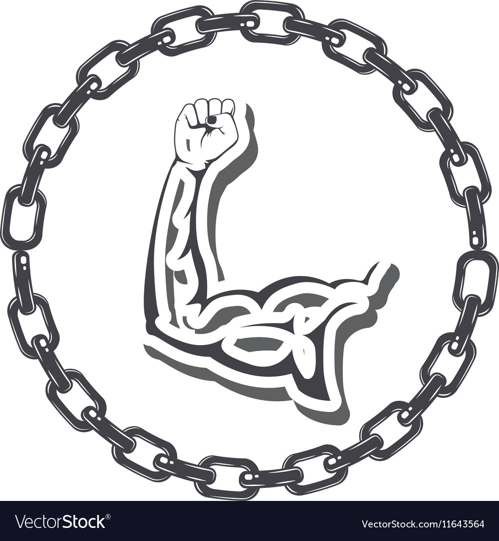 Border with chain inside a silhouette muscular arm