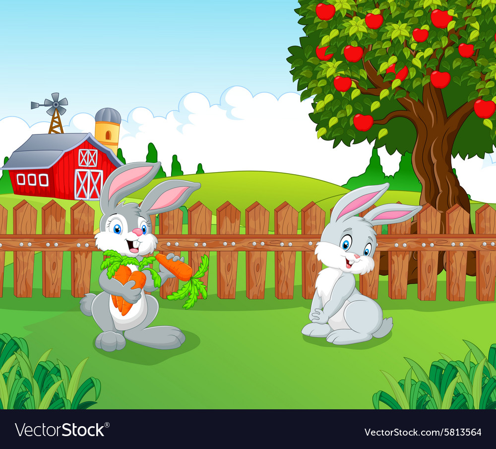 Cartoon little bunny in the farm