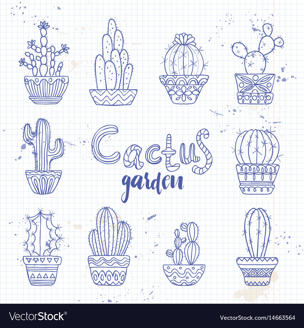 Cute hand drawn cactuse set