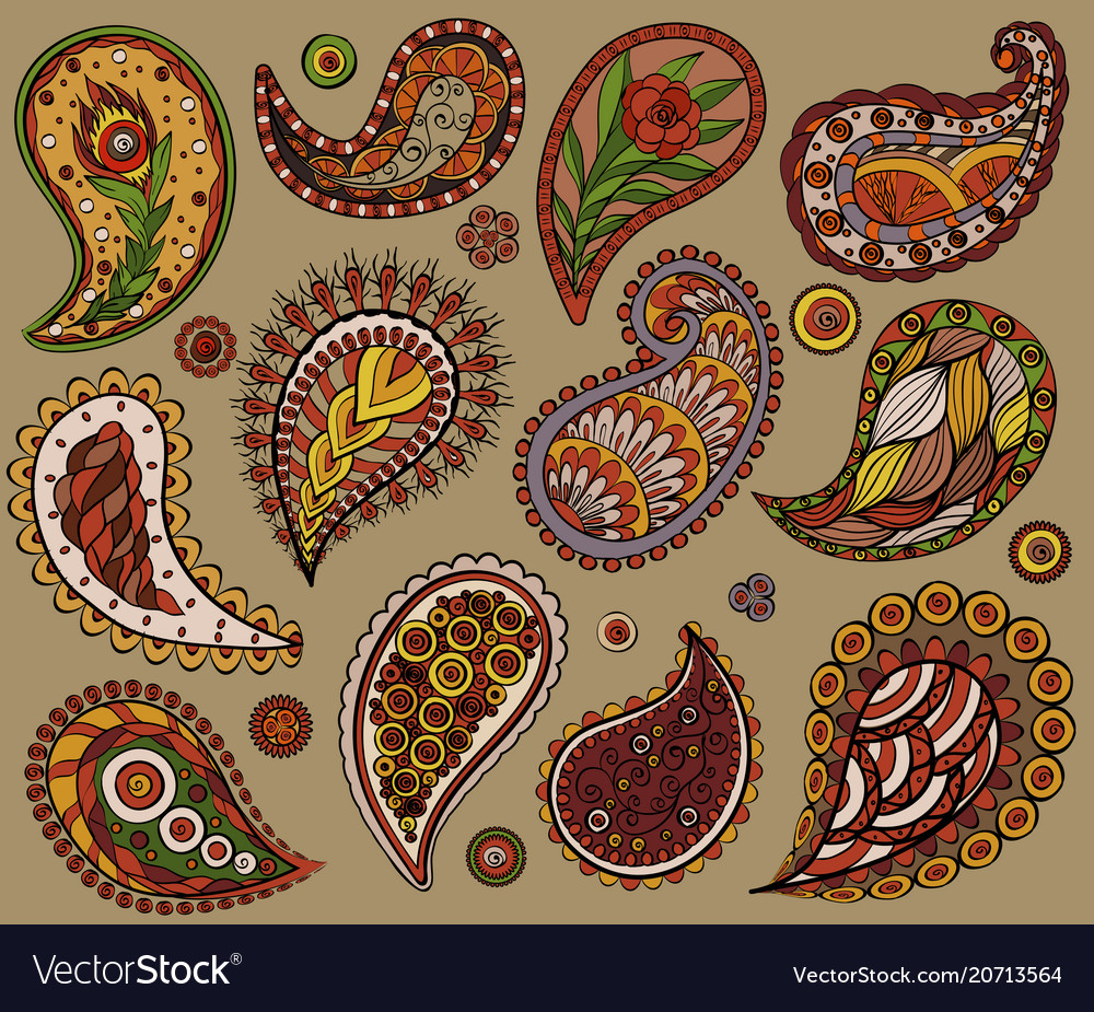 Ethnic lace elaments hand drawing colorful design vector image