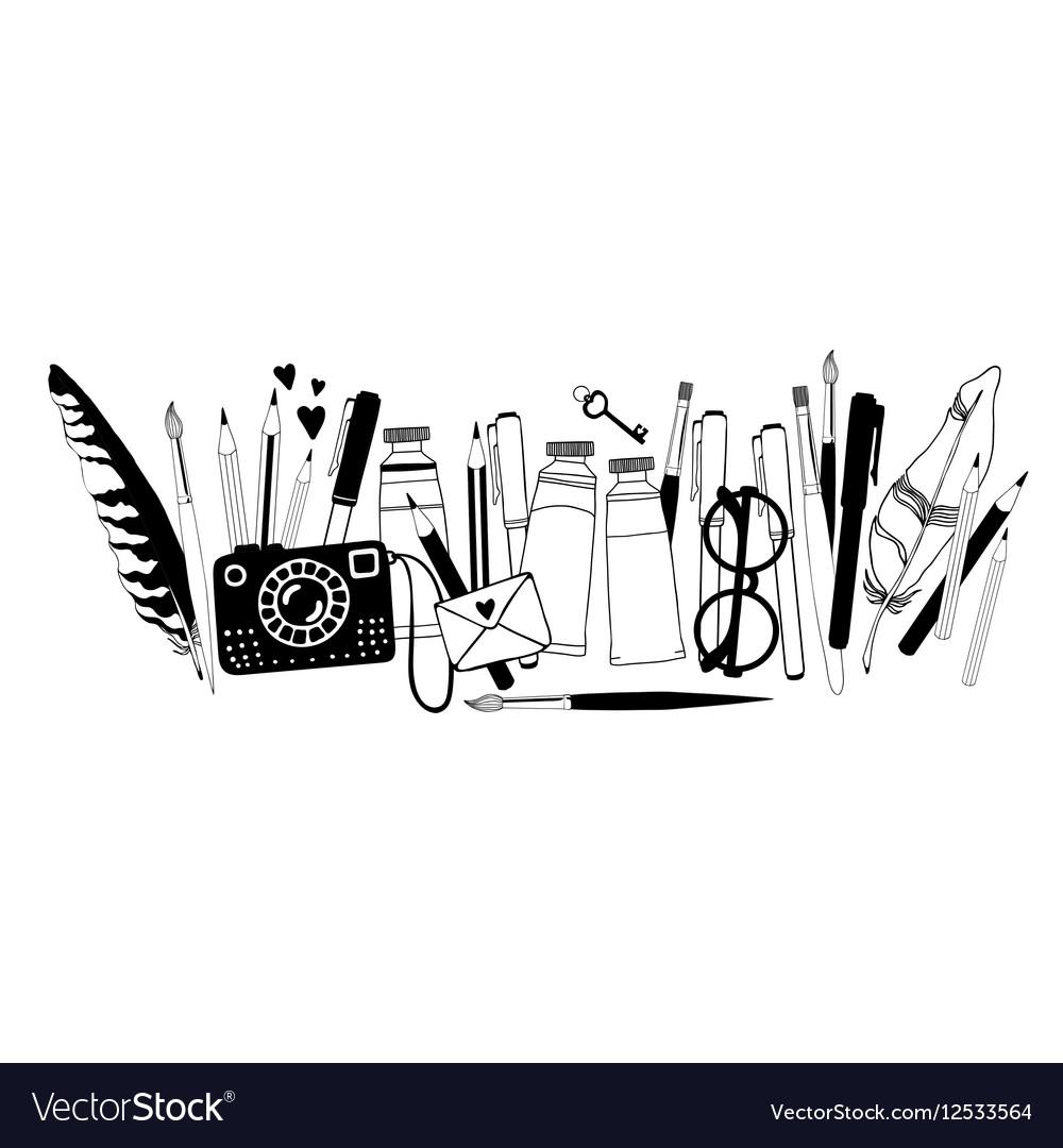 Hand drawn artist stuff vector image