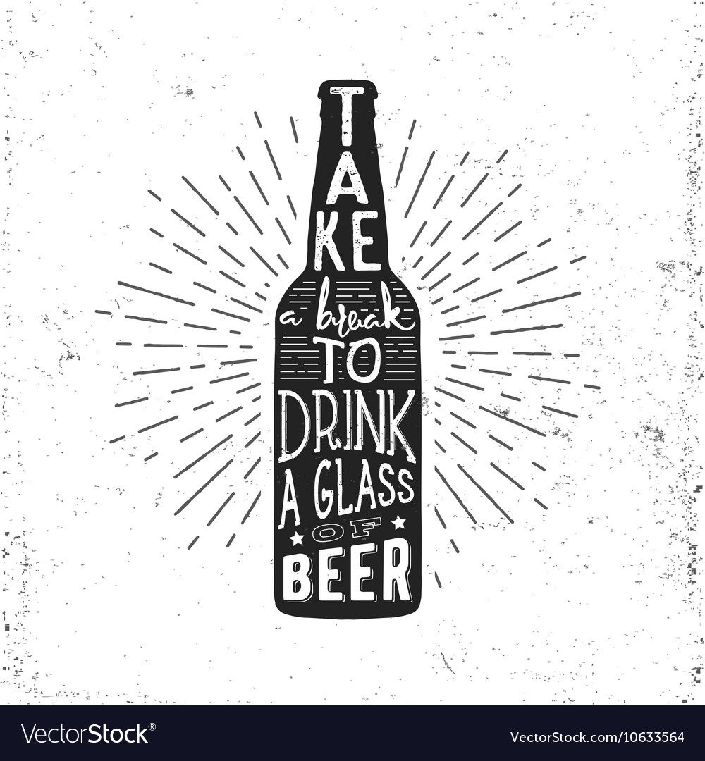Hand drawn vintage label with beer bottle