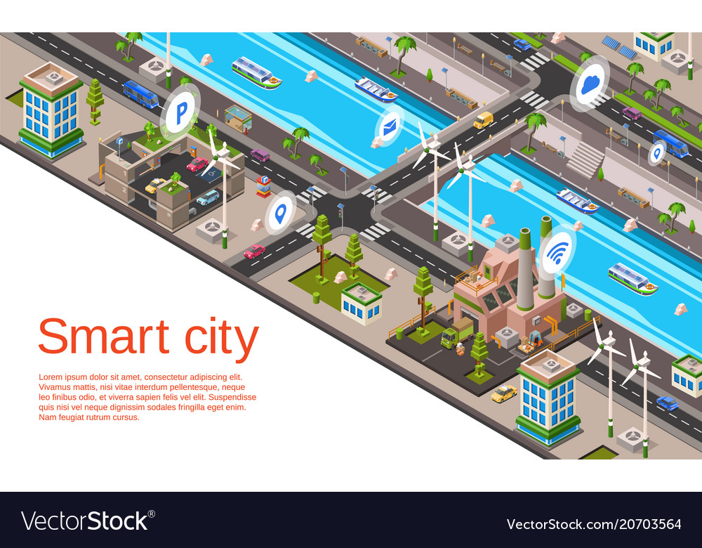 Isometric smart city concept