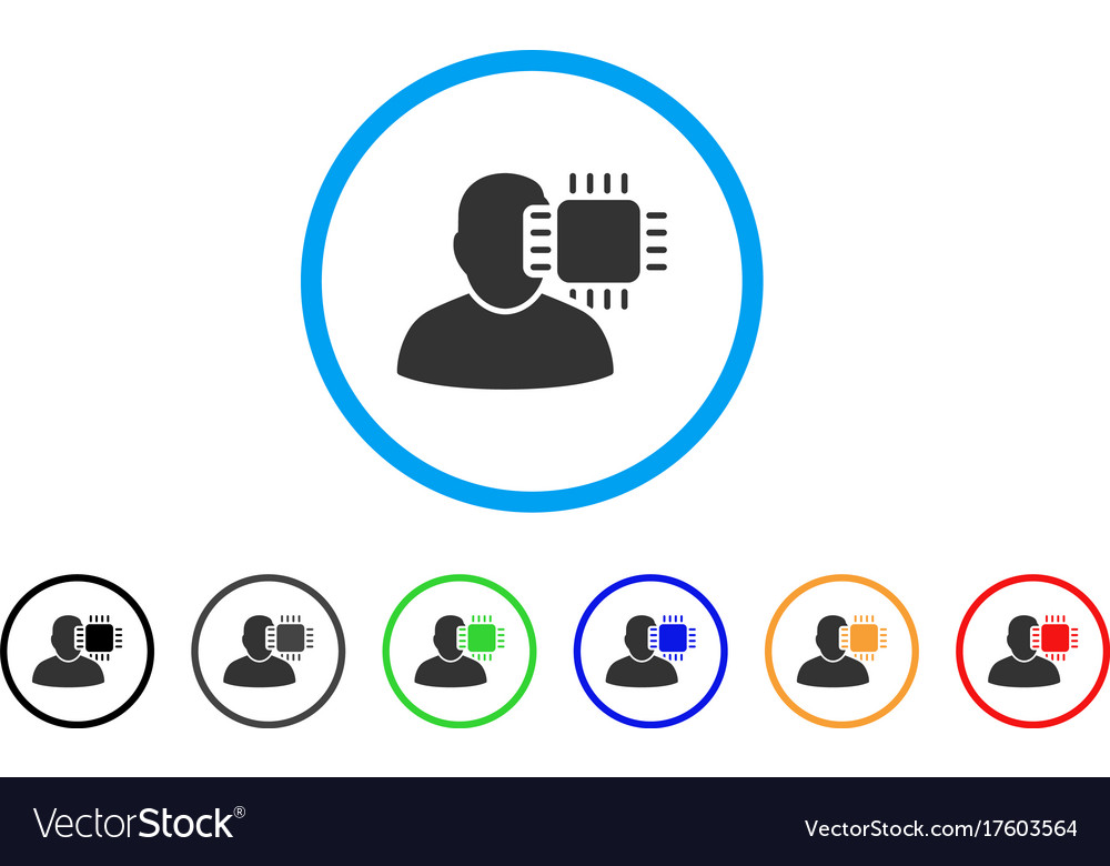 Neuro interface rounded icon vector image