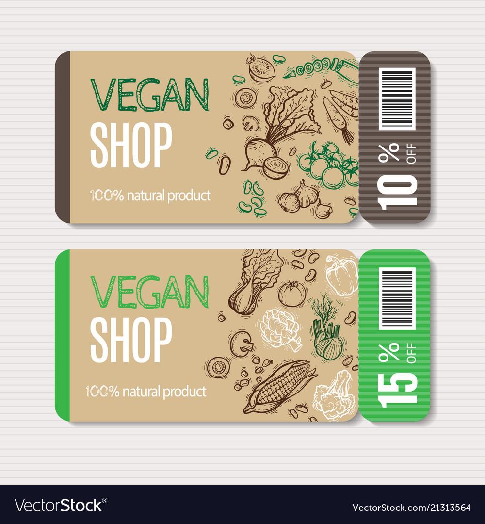 Organic Market Kit Coupon Vector Image